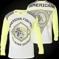 AMERICAN FIGHTER Men LONG SLEEVE T-Shirt SIOUX FALLS Athletic WHITE Gym $48
