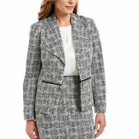 KASPER NEW Women's Petite Zip-detail Print Knit Lined Blazer Jacket Top 12P TEDO