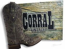 Corral Studded Bone Inlay Crater Cowgirl Boot Square Toe - A1121 - Brown - 8 Med