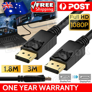 Displayport Display Port DP to DP Cable Male to Male Full HD High Speed 1.8M 3M