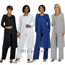 White Gray Pants Suit Mother of the Bride Dress Formal Gowns Evening Plus Size
