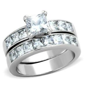 Ah! Jewellery® Princess Cut Simulated Diamonds Ring Set, Stainless Steel, 316