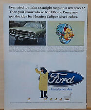 1968 magazine ad for Ford - Cop directs ducklings, Floating Caliper Disc Brakes