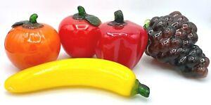 5 Piece Set of Glass Fruit Apple, Banana, Orange, Grapes, Pepper