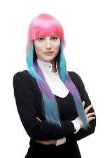 Perücke Cosplay Neon Bunt Pink Blau Weiß lang glatt Pony gestuft H9014-A-B-C-P-Z