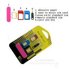5 in 1 Nano SIM Card to Micro Standard Adapter Converter Set for iPhone 6 5 4s
