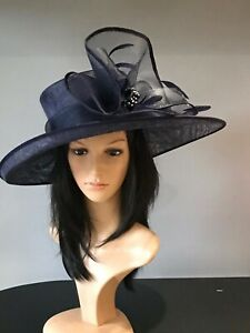 BRAND NEW NAVY BLUE WEDDING ASCOT HAT FORMAL OCCASION MOTHER OF THE BRIDE