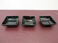 Set of 3 Carlisle Small Black Square Dipping Bowls Condiments, Sauces Melamine