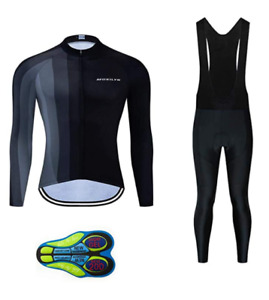 Big Tall & Regular Men's Cycling Long Sleeve Jersey Shirt + Bib Pant Set