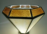 Vintage Lamp Shade Stained Leaded Swag Glass Hanging Light Amber Swirl Honey