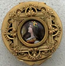 STUNNING CIRCA 1840's FRENCH GOLD GILT BRONZE & ENAMEL CAMEO ROUND TRINKET BOX