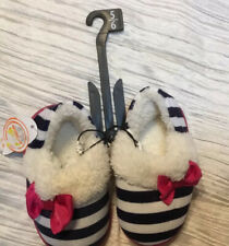 GIRL TODDLER BLACK STRIPE SLIPPERS WITH BOW SHOES SIZE 5 -6 RUBBER SOLE CASUAL