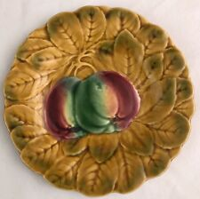 "PV Sarreguemines Majolica Pottery Plate 7 5/8"" Apples & Leaves France"