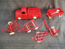 Vintage 1950s-1960s Plastic Toy Pick-Up Truck & Farm Plow Harvest Implements