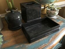 Frontgate Marble Bathroom Accessories Set Tissue Cover, Vanity Tray & Canister
