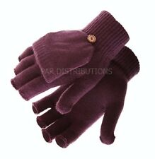 Light Purple Thermal Ladies Mens Gloves Mittens Fingerless Flap Thermal Winter