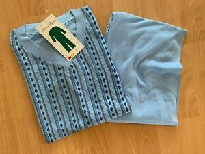 TOP Herren Schlafanzug Pyjama Gr. M bis 3XL hellblau gemustert NEU