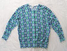 Crown & Ivy -NWOT thin Blue Green button Sweater 3/4 slv Cotton, Nylon Spandx M