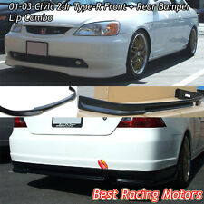 TR Style Front (PU) + TR Style Rear (ABS) Bumper Lip Combo Fit 01-03 Civic 2dr
