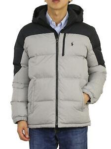 Polo Ralph Lauren Boy's Hooded Puffer Down Jacket Coat - Lt. Grey/Black -