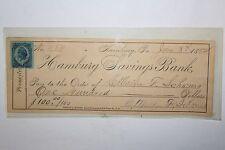 1882 Hamburg PA Savings Bank Check W/ Stamp $100.00