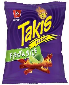 NEW BARCEL TAKIS FIESTA SIZE FUEGO HOT CHILI PEPPER & LIME TORTILLA CHIPS 20 OZ