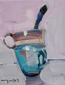 JOSE TRUJILLO Oil Painting IMPRESSIONISM CONTEMPORARY Tea Cup Still Life