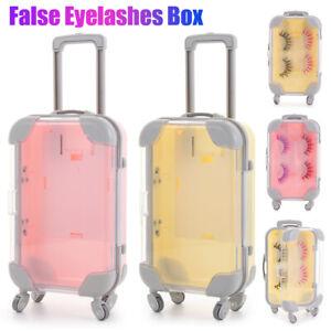 Beauty Mini Trolley Plastic Storage Eye Lashes Box Luggage False Eyelashes Case