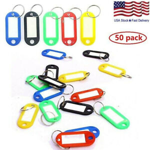 50 Pack Plastic Key Tags Luggage Fobs ID Card Name Label Keychain W/ Split Ring