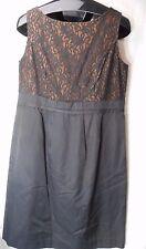 Vintage Louis Feraud Paris Classic Black with Lace top Mid Length Dress 42