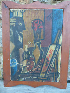 """Vintage 1957 """"Still Life With Easel"""" Cubist Modernist Painting Signed Fisher"""