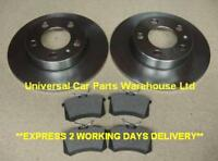 VW PASSAT  96-05 TWO SOLID REAR BRAKE DISCS AND A SET OF FOUR BRAKE PADS