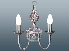 PAIR OF CLASSIC SATIN CHROME 2 LIGHT WALL FITTING WITH CENTRAL BARLEY TWIST