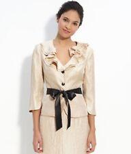 NWOT Adrianna Papell Evening Essentials cream sheer blazer top suit , S. 10P M/L