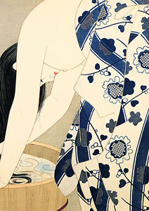 Washing Her Hair 30x44 Japanese Print by Ito Shinsui Asian Art Japan