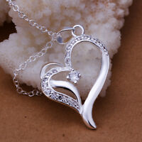 925 Sterling Silver Filled Crystal Heart Pendant Charm Necklace Fashion Gift