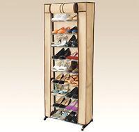 30 Pair Rack Shoe Shelf Organizer Rolls Up-Promotes Dust Protection Zipper Hide