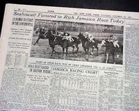SEABISCUIT Continental Handicap Favorite at Jamaica Queens NYC in 1937 Newspaper