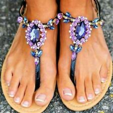 Sz38-47 Women's Hollow Flat Summer Sandals Rhinestone Flip Flops Beach Shoes Hot