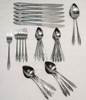 Vintage Oneidacraft Deluxe Stainless Flatware Lot Ember Glow Fork Spoons Butter