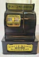 Vintage Uncle Sam's 3 Coin Cash Register Bank Western Stamping Co In box Japan
