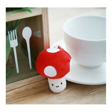 Cotton Food Anti Dust Plug Plush Cellphone Charm - Mushroom: Red
