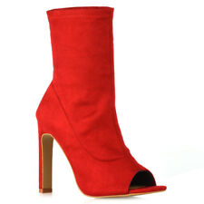 eec5c32eb Womens Sock Fit Ankle Boots Ladies High Heel Faux Suede Peep Toe Party Shoes  3-