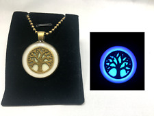 Tree of Life GLOW IN THE DARK Aqua Blue Purple Bronze Pendant Charm Necklace
