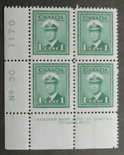 Canada Stamps 1942-43 King George VI War Issue # 249 1 cent Plate Block MNH