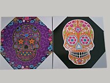 Decorative wall hanging art Sugar Skull Wall Decor Plaques Art  (Set of 2)
