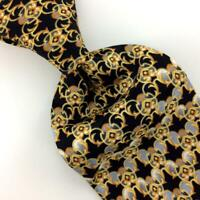 Vitaliano Pancaldi Tie Italy Black Gray Gold Chain Luxury Necktie Silk L1 XL 61""
