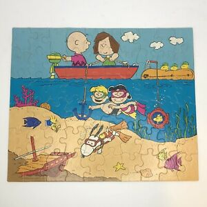 Vintage Peanuts Jigsaw Puzzle Milton Bradley 60 Pieces Beach/Summer - Free Ship