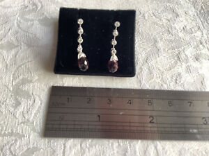18ct white gold, diamond and pink tourmaline earrings