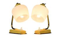 Paar Nachttisch Leuchten Schrumpflack gelb Lese Lampen Glas Schirm 50er 60er